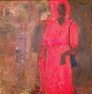 Mujer-con-Vestito-Roja